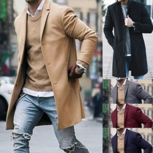 Men Business Coat Spring Autumn Men Trench Coats Superior Quality Buttons Male Fashion Outerwear Jackets Windbreaker Plus Size