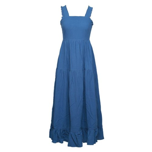 Solid Spaghetti Straps Blue Cotton Casual Maxi Dresses for Women Square Neck Summer High Waist Vacation Beach Pleated Tank Dress