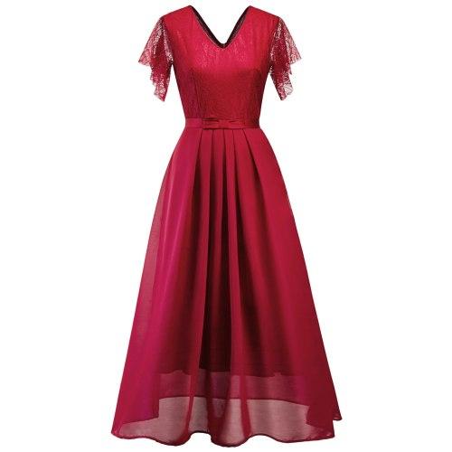 Summer 2021 Ladies Lace Stitching Sexy V-neck Chiffon Long Dress Maxi Dresses for Women
