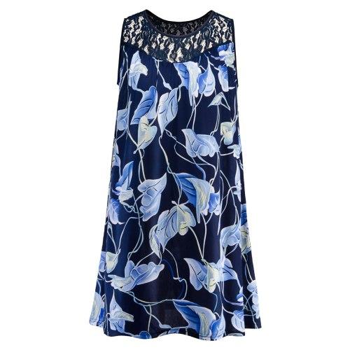 Vintage Leaves Print Plus Size Cocktail Dress For Women Loose Waist Large Size Printed Mini Dress Shirt Vestidos