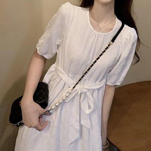 Elegant Casual Dresses for Women 2021 French Soft Girl Style Short Sleeve White Midi Dress  Chic Korean Style Robe Female