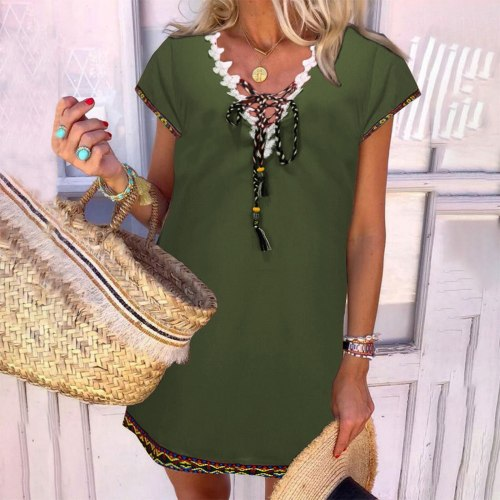 Summer V Neck Sundress Women Bohemian Dress Short Sleeve Dresses Elegant Printed Mini Dress Mujer Vestido Casual Robe