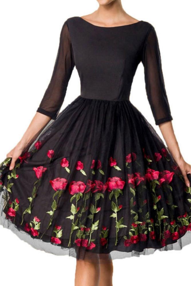Women Evening Party Robe Fashion Rose Flower Embroidered Mesh  Sleeve O Neck Black Dress New Year Dinner Midi Dress Vestido