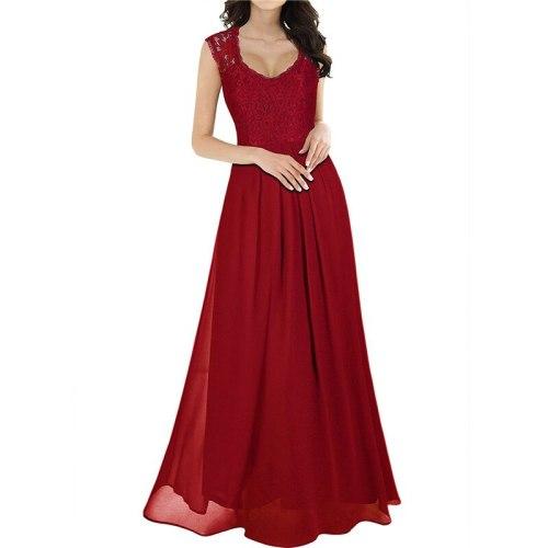 Lace dress women 2021 spring summer new fashion hollow out wine red green v neck sleeveless sexy slim maxi dress feminina