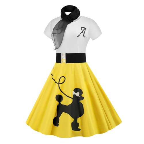 Vintage Poodle Dresses with Scarf Women Clothing  Pinup Vestidos Summer Puppy Retro Casual Party Robe Rockabilly Dresses
