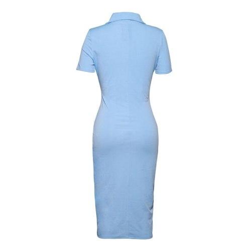 Summer Knit Turn-Down Collar Polo Shirt Dress Women Bodycon Pencil Dresses Office Ladies Short Sleeve Blue Dress Female Vestidos