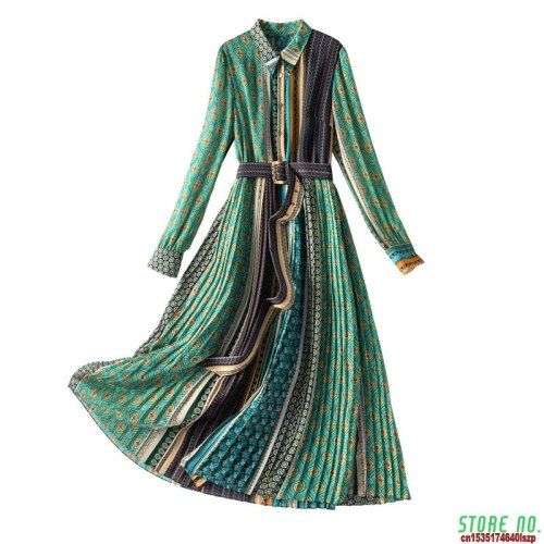 2021 Spring New Ethnic Style Casual Female Plus Size Irregular Printed Green Dress Long Sleeve For Woman