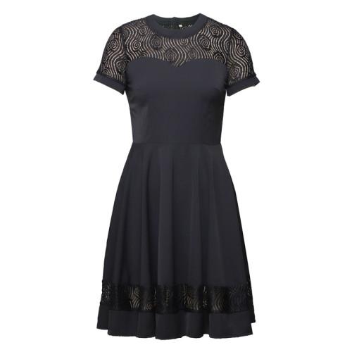 Lace Short Sleeve O-Neck Black Vintage A-Line Night Dresses for Women Solid Color Summer Slim Swing Dress