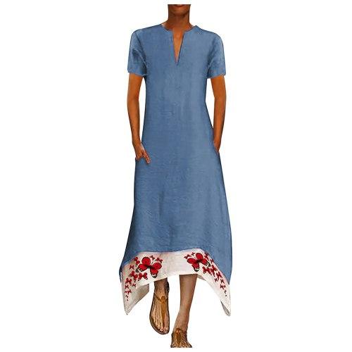Womens Dress 2021 Fashion Retro Printing V-neck Short Sleeve Comfy Casual Elegant Vintage dresses for women vestidos femininos