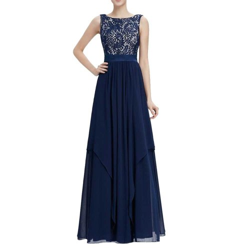 Dress Lace Long V -Neck Dress Floor -Length Autumn Sweet Pleated Brief Elegant Floral Sexy Dress