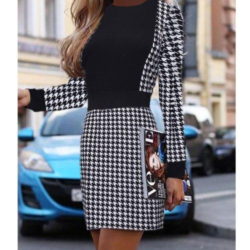 Elegant Office Lady Fashion Plaid Print Flare Sleeve Pleated Mini Club Party Dress
