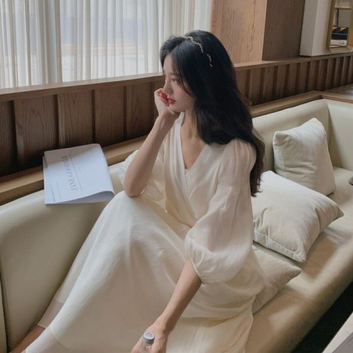 2021 Summer French Retro Dress Women Elegant Puff Sleeve Korean Dress Female Office Lady Casual V-neck Chiffon Fairy Dress