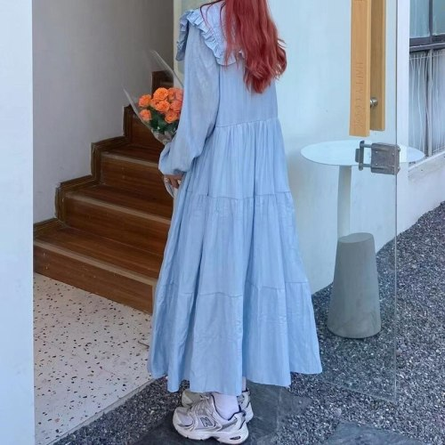 Dresses Women Solid Spring Baggy Sudaderas Para Party Comfortable Popular Simple All-match Ulzzang New Arrival Mujer Lace-up Ins