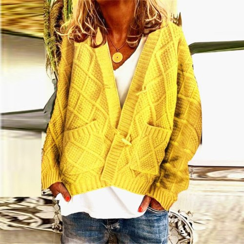 Oversized Sweater Winter Women Y2k Twist Solid Deep V-neck with Pockets Loose Button Cardigan Femme 2021 Sales