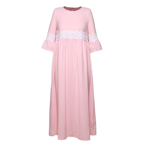 Solid Pink Elegant Lace Trim High Waist Casual Long Dress 2021 Autumn Clothes Women Keyhole Back Length Sleeve Dresses