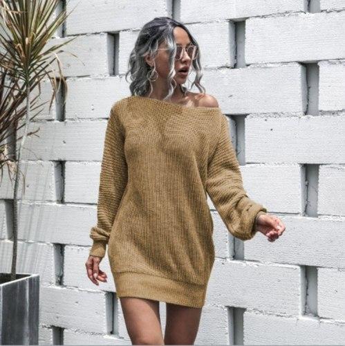 Women's Autumn Winter Sweater Dress Casual Off Shoulder Lantern Sleeve Knitted Woolen Dress