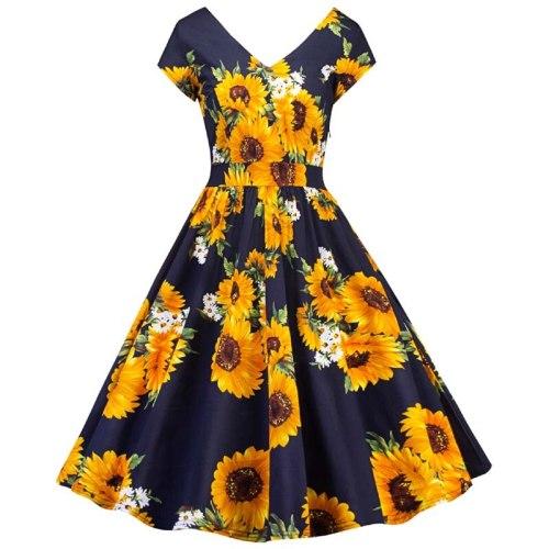 New Sunflower Print Vintage Party Dress women's sunflower print V Neck Short Sleeve Casual A-Line Dress Pin Up Vestidos