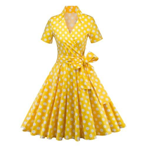 Hepburn Polka Dot Dress Large Size Women's Lapel V-Neck Short Sleeve Matching Belt Youth Fashion Beautiful Exquisite Dress 2021