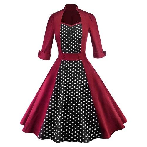 Women Robe Retro Vintage Dress  Rockabilly Dot Swing Pin Up Summer Party Dresses Elegant Tunic Vestidos Casual