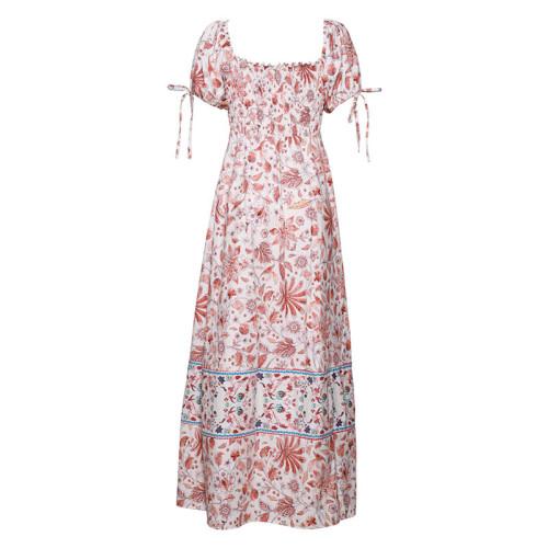 Vacation Elegant Boho Summer Dresses Square Neck Vintage Floral Print Women Short Sleeve Beach Maxi Dress