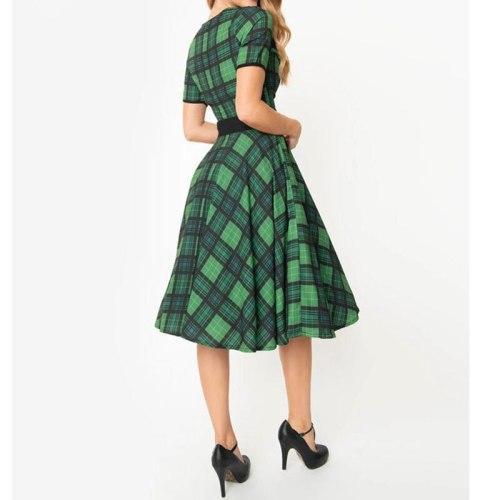 2021 Retro Vintage Women Summer Dress  Green Plaid Print High Waist Pin Up Short Sleeve Rockabilly Skater Swing Party Vestido