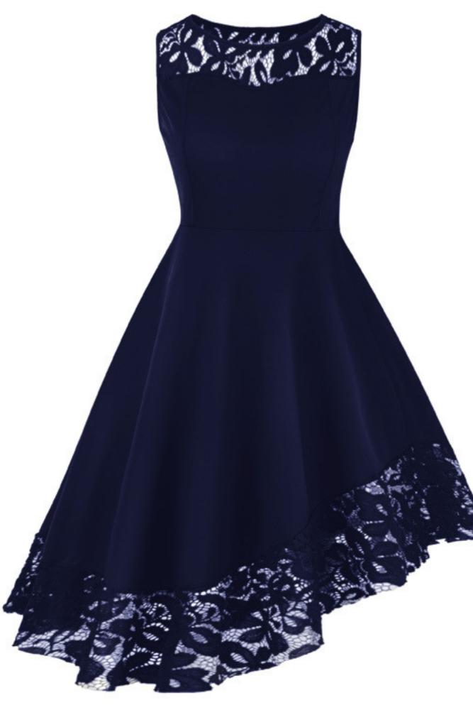 Plus Size Women Asymmetrical Dress Lace Hem Sleeveless A Line Dress Summer Solid Knee-Length Dress Vestidos Femme