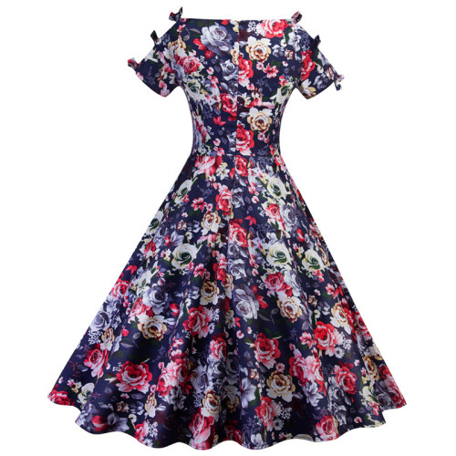2021Floral Print Women Dress O Neck Short Sleeve Casual Retro Ladies Dress Party Robe Rockabilly Hepburn Vintage Dress Summer