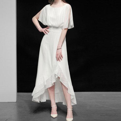 Women Elegant White Dress High Quality Wedding Cocktail Party Robe Femme Asymmetrical Designer Chiffon Stripe Ruffles Vestidos