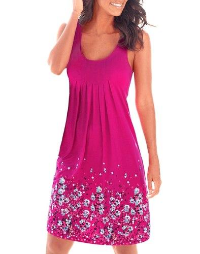 Women Chiffon Loose Sleeveless Draped Dress Summer Flower Print Cool Sundress Mini Beach Dress