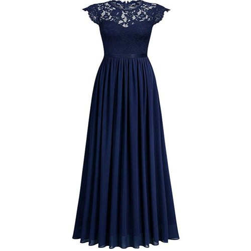 Pleated Maxi Dresses Women Fashion Sexy Lace Patchwork Short Sleeve Summer Solid Vintage Elegant Party Dress Vestidos Robes 2021