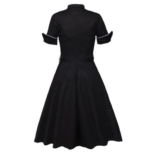 Black Elegant Button Front Women Vintage A Line Dress High Waist Belted Knee Length Ladies Swing Dresses
