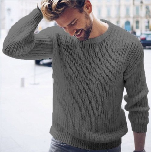 Autumn Winter Men's Round Neck Pullover Knitted Sweater Men Long Sleeve Hip Hop Casual Retro Sweater Streetwear