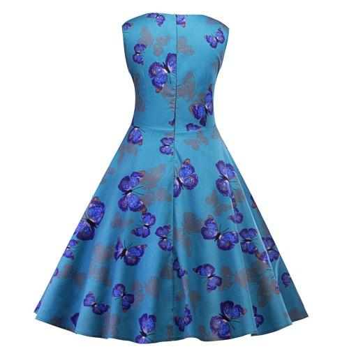 Elegant Square Collar Sleeveless A Line Cocktail Dress Knee Length Butterfly Print Party Dress Vestidos De Fiesta