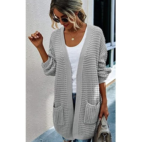 2021 NewAutumn/winter Solid Color Loose Cardigan Cross-border European and American Large Size Knitwear