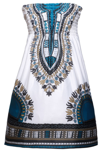 Summer Sexy Short African Dresses for Women Dashiki Print Bazin Robe Smocked Stretchy Tube Top Backless Bodycon Mini Dress