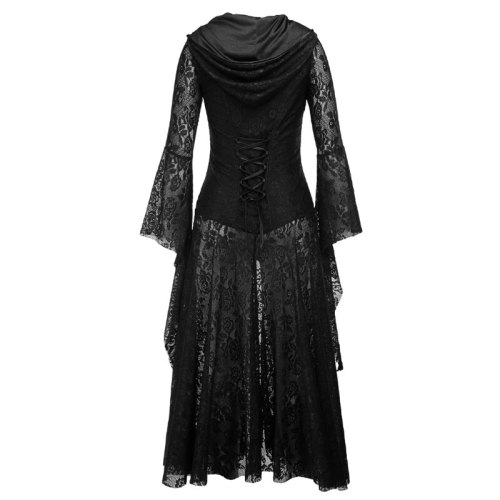 Gothic Hooded Black Halloween Punk Dress Cosplay Women Sexy Lace Goth Long Dress 2021 Victorian Medieval Vintage Steampunk Dress