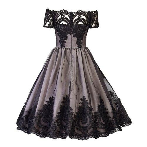 Summer dress women black off shoulder lace retro plus size dress knee length short Sleeve patchwork sexy vintage Dress