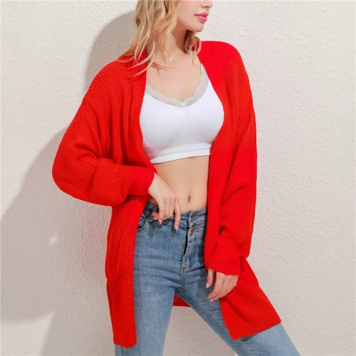 Spring Sweater Cardigans Women 2021 V Neck Lantern Sleeve Open Stitch Loose Sweater Jacket Cheap Clothes Female Knit Coat