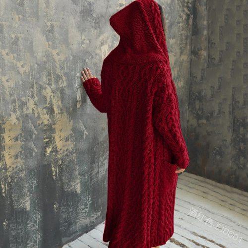 Cardigan Women Plus Size  Solid Color Long Sleeve Braid Knit Cardigan Hooded Sweater Coat Overcoat Loose Ladies Sweaters Coat