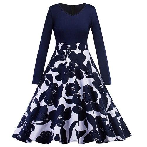 Long Dress Women Floral Print Long Sleeve O Neck Party Dress Bodycon Elegant Loose Spring Summer Dresses Vestidos Robe Femme