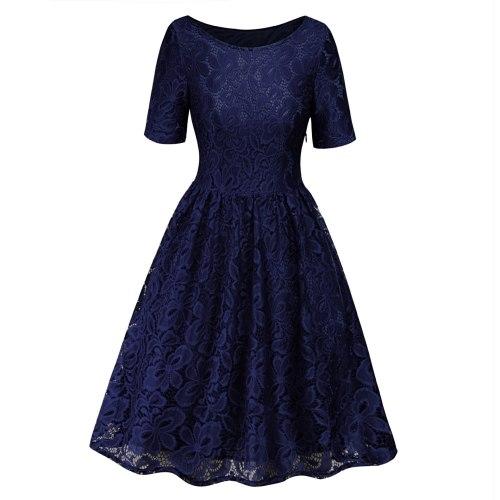 Half Sleeve Round Neck Butterfly Flower Lace Dress For Women Fashion Elegant Night Party Slim Summer Dresses Vestidos Black Blue