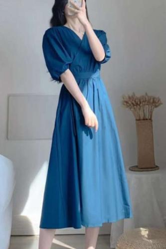 2021 Women's Summer V-Neck Puff Sleeve A-Line Dresses Vintage Elegant Office OL Lace Up Casual Slim Long Dress Vestidos