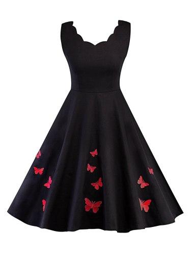 Rosetic Vintage Sexy Rockabilly Dress Women Gothic Black Fashion Embroidery Elegant A Line Party Retro Dresses Summer