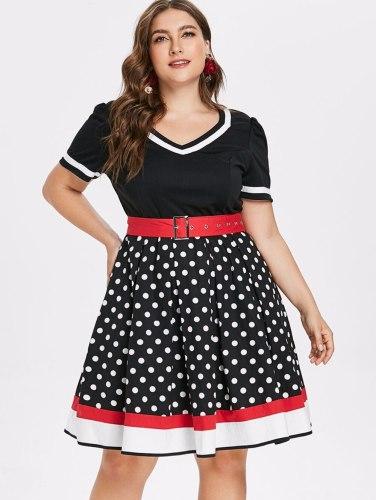 Polka Dot Print Vintage Dress Women Summer V-Neck Sleeveless A-lined Dress Sweetheart Pin Up Party Dresses Belt