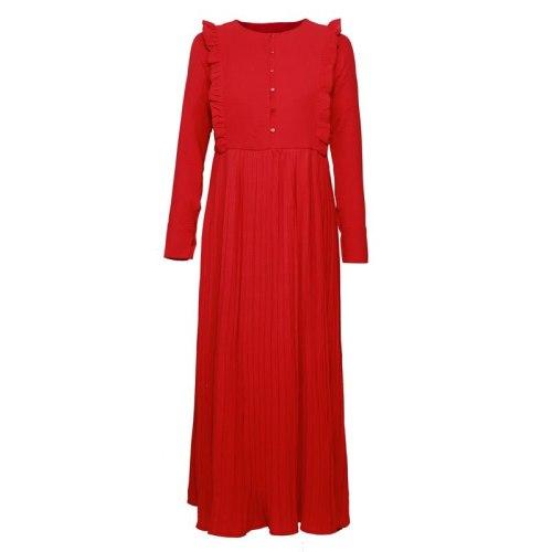 O-Neck Ruffles Patchwork Slim Red Dress Women Elegant Cotton Fashion Pleat Autumn Dress Midi Ladies Basic