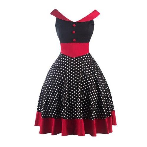 Hepburn Style Cotton Retro Tunic Big Swing Dress For Women V-neck Sleeveless Black Polka Dot Pleated Vintage Dress Vestidos