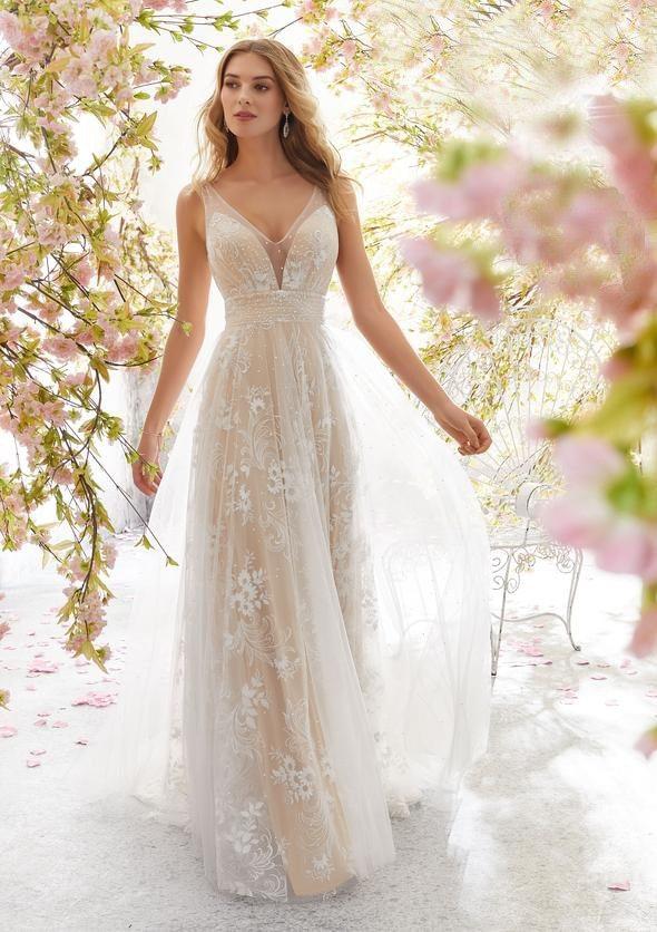 2021 New Wedding  Sexy Slim V-neck Sleeveless Lace Wedding White Dress for Women Party Sheath  Floor-Length  Spaghetti Strap