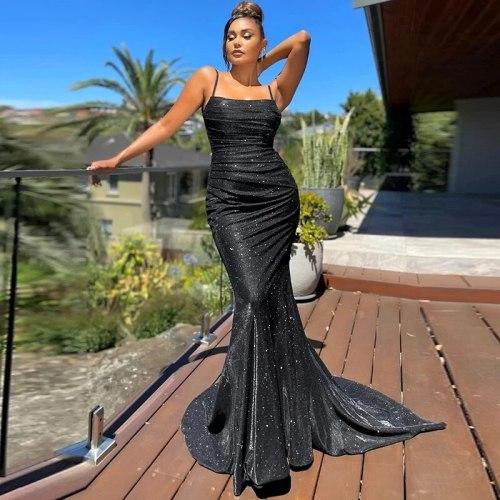 Square Collar Satin Maxi Dress Long Train Mermaid Sleeveless Evening Party Tank Dress Stretch Black Floor Length Gown