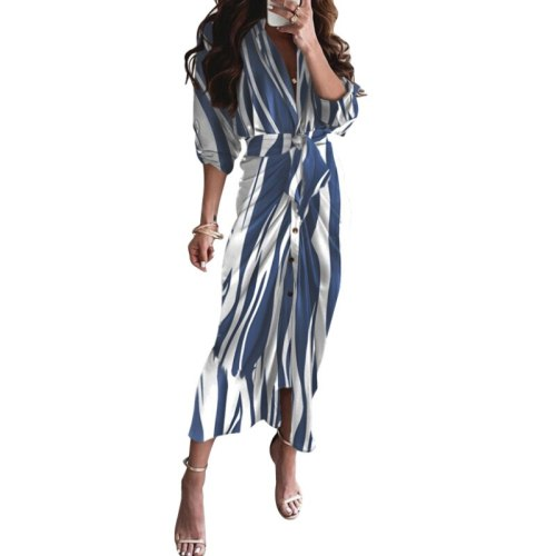 Women Long Sleeve Dress with Adjustable Belt, V-neck Button Sexy Style Spring Autumn Clothing Evening Party
