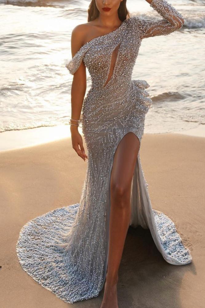 2021 New Summer Vintage Slim Slit Formal Evening Party Dress Women Sexy One Shoulder Prom Robe Lady Fashion Vestido